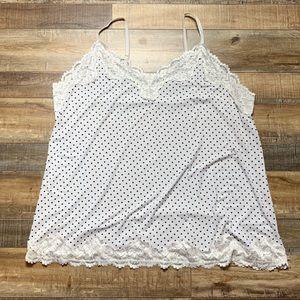 Lane Bryant Polka Dot Lace Trim Cami Size 22 / 24